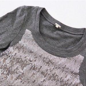 J. Crew Gray Sequence Crew Neck Sweater